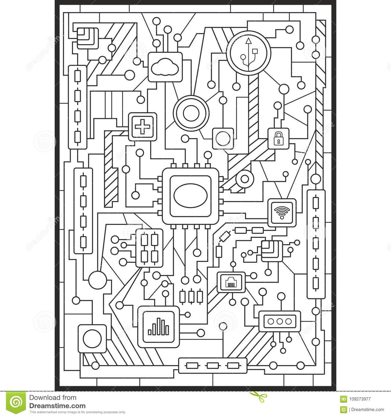Coloring For Adults. Modern Technology Woven Into The Computer Board ...