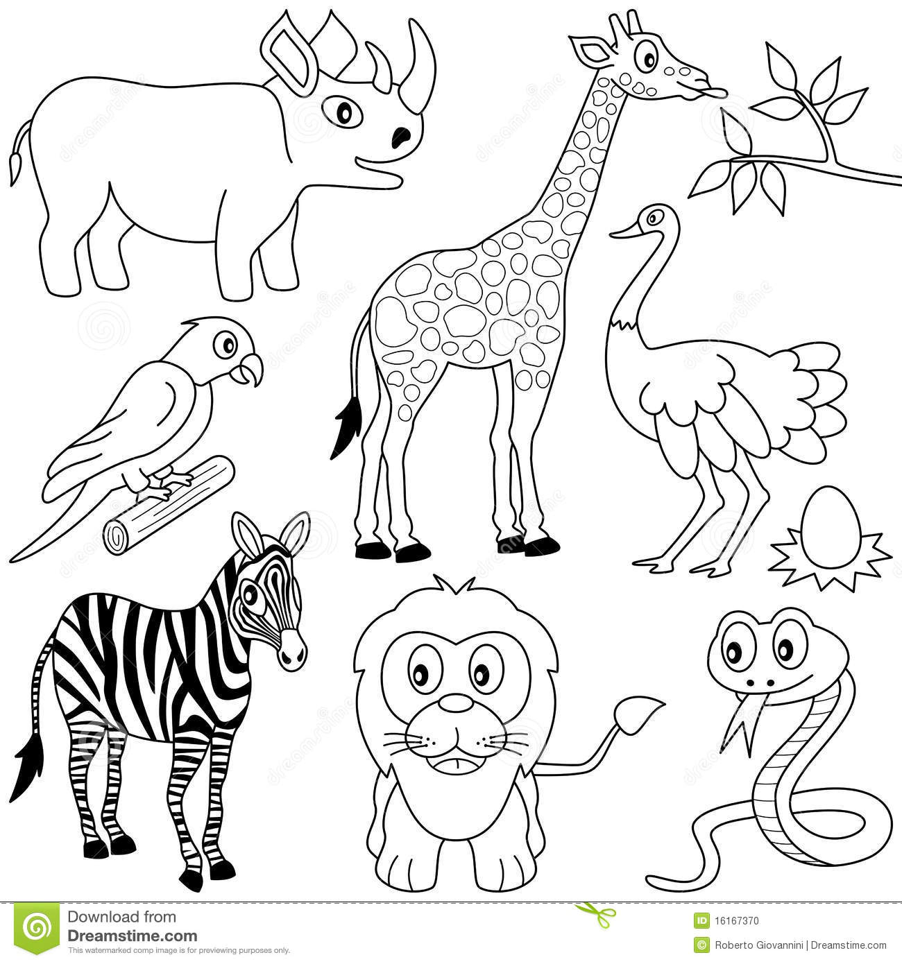 Coloring African Animals 1 Stock