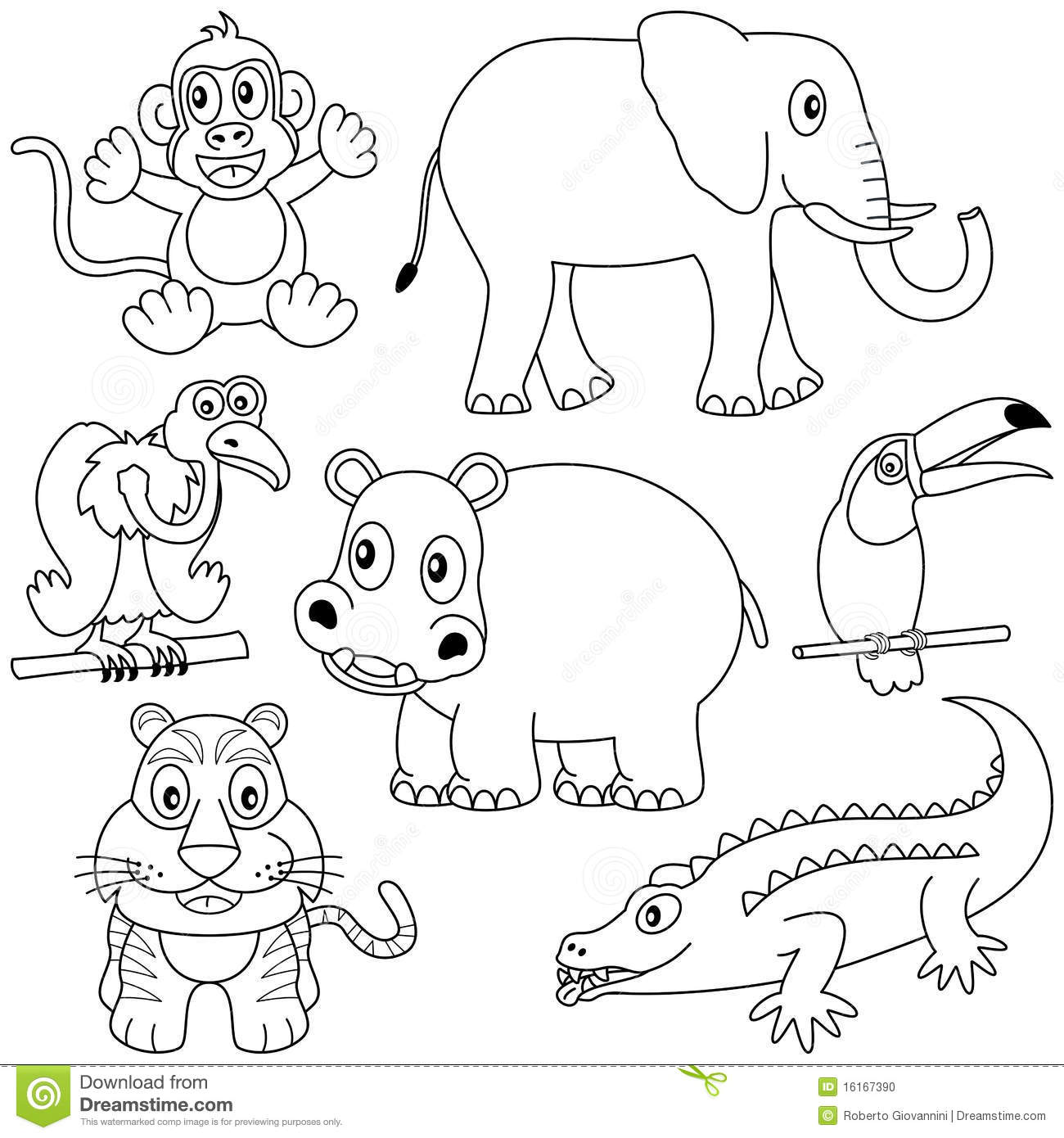 Ausmalbilder Zootiere: Coloring African Animals [2] Stock Vector