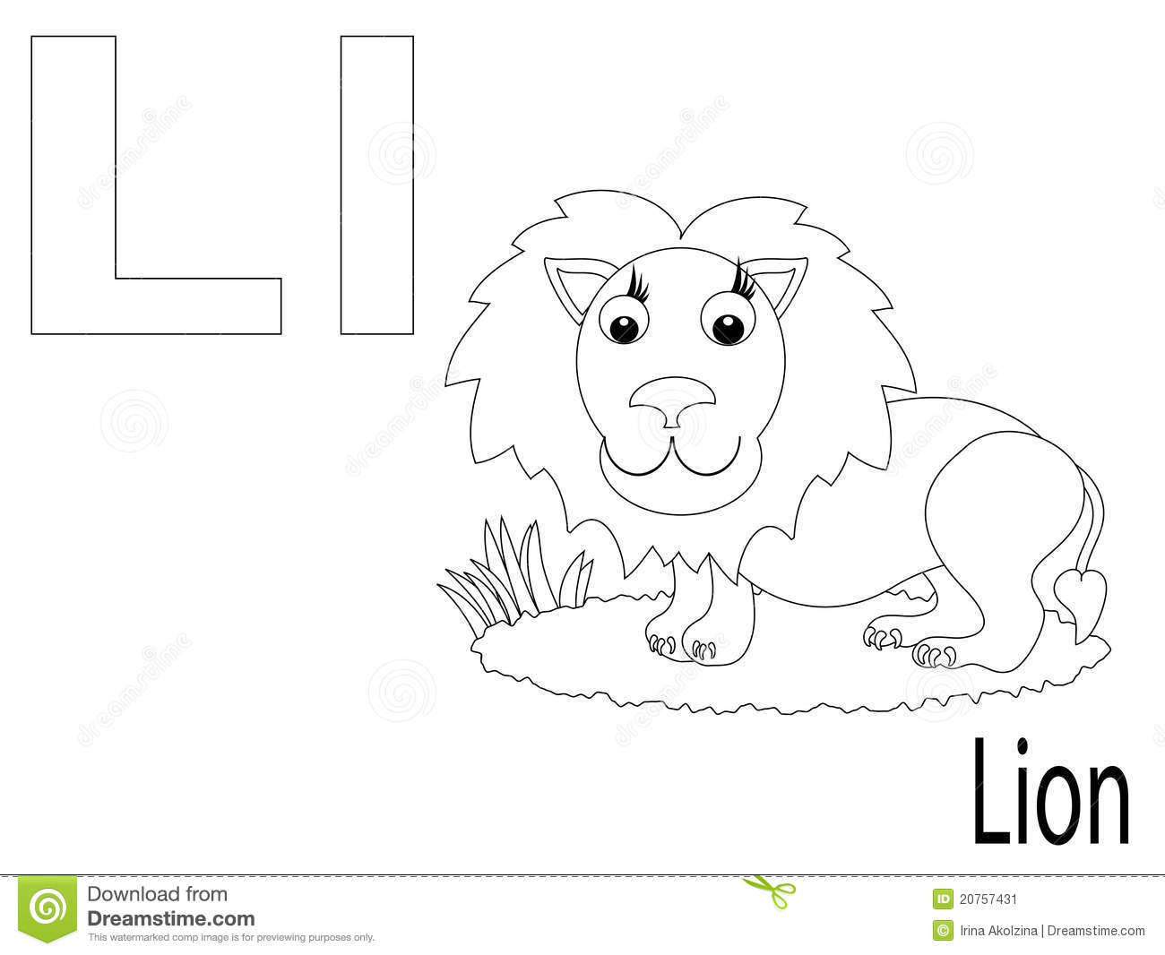Coloring Alphabet For Kids,L Stock Vector