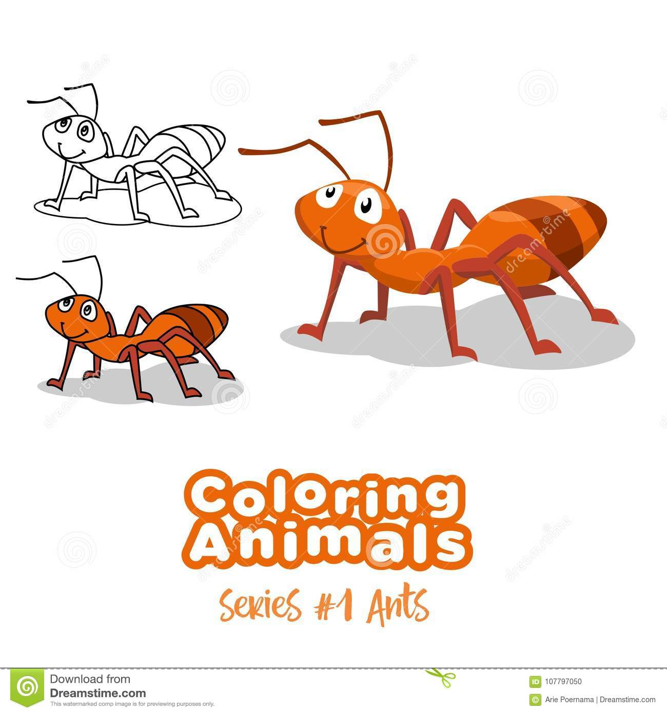 Coloring animals ants vector cartoon for drawing kids and any purpose of books and drawing publication