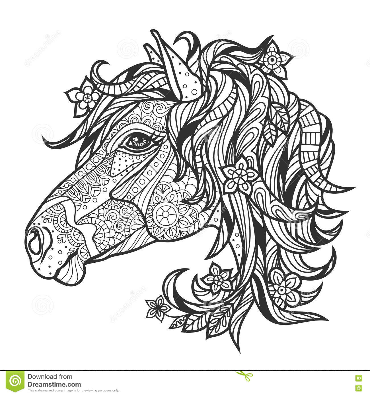 horse coloring pages for adults - coloring anti stress with a portrait of a horse stock