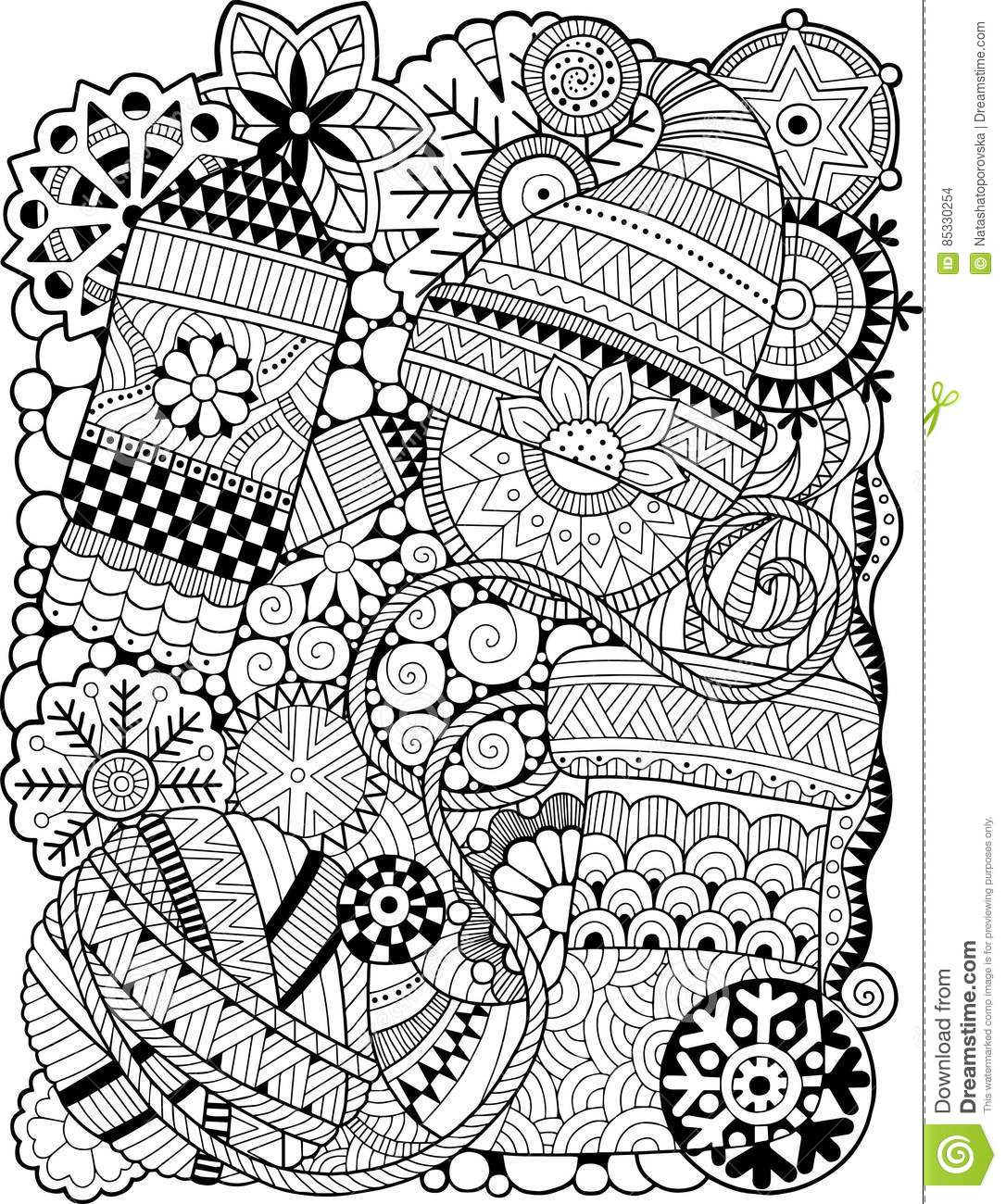 Coloring antistress for adults black and white contour decorative scarf with a ball of yarn