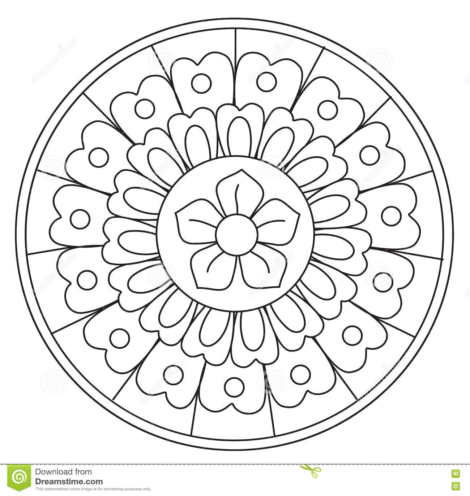 Coloring Beauty Floral Mandala Stock Vector