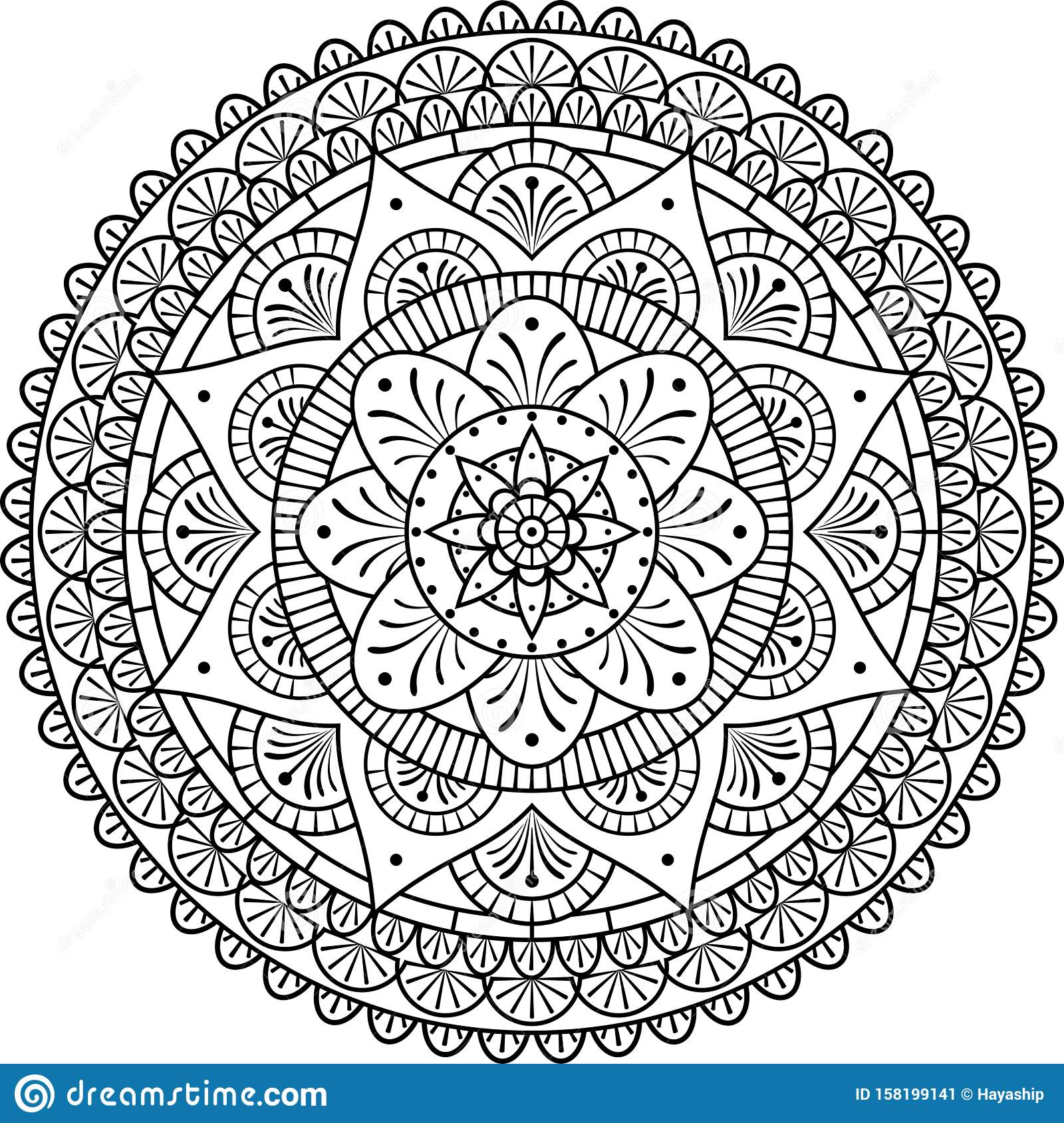 - Coloring Beauty Mandala Art Therapy Stock Vector - Illustration Of