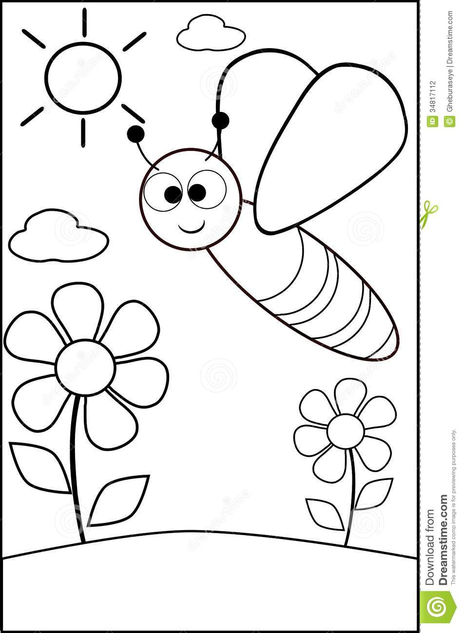coloring bee stock photography