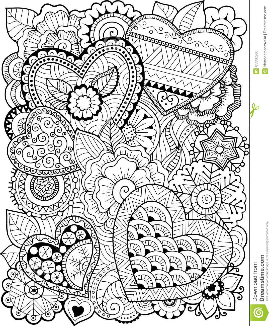 Coloring Book For Adult. Hearts And Flowers. Valentines Day ...