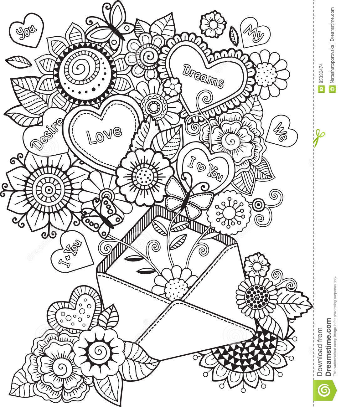 Coloring Book For Adult. I Love You. Valentines Day Stock ...