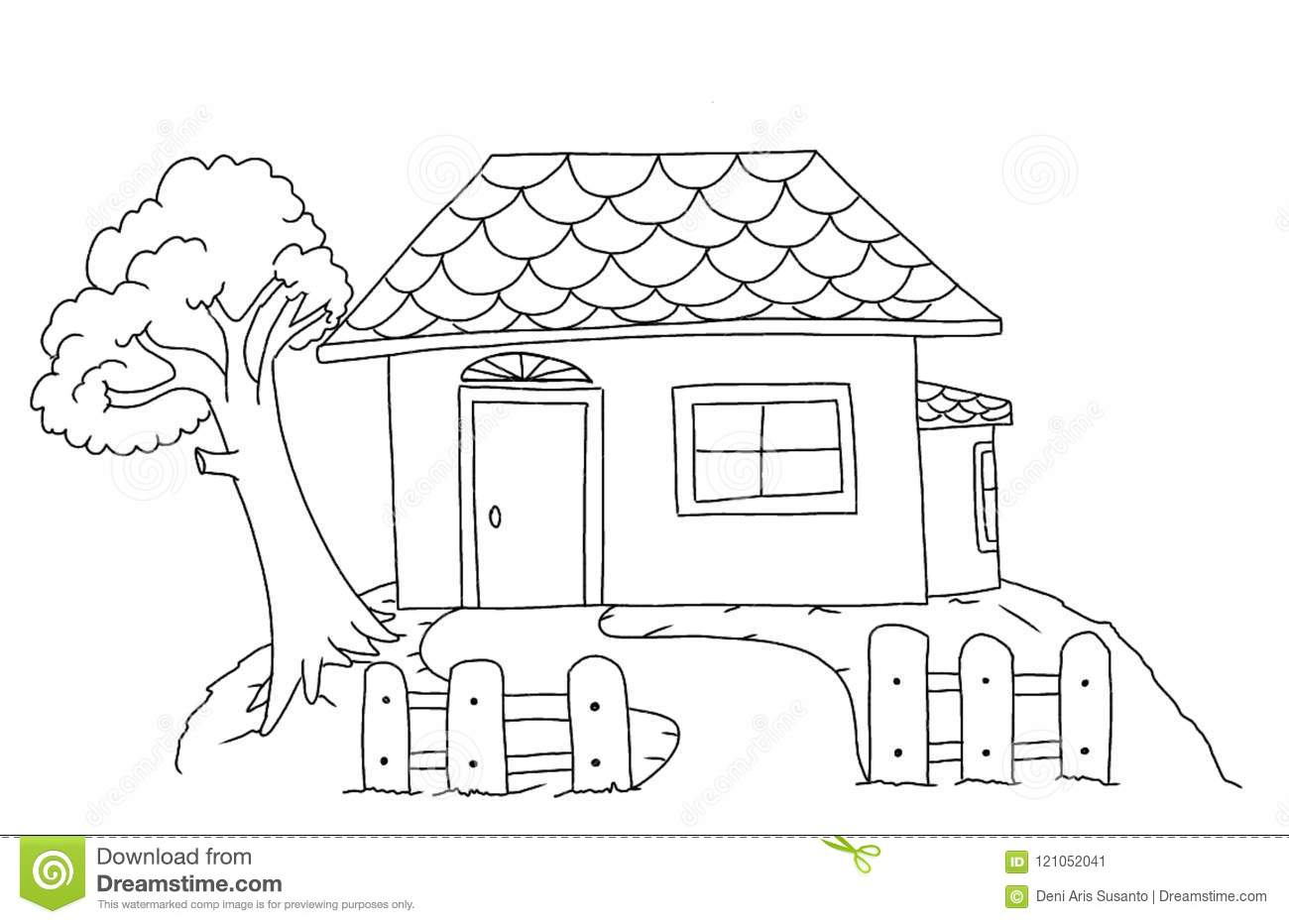 House Coloring Page For Children. Stock Illustration