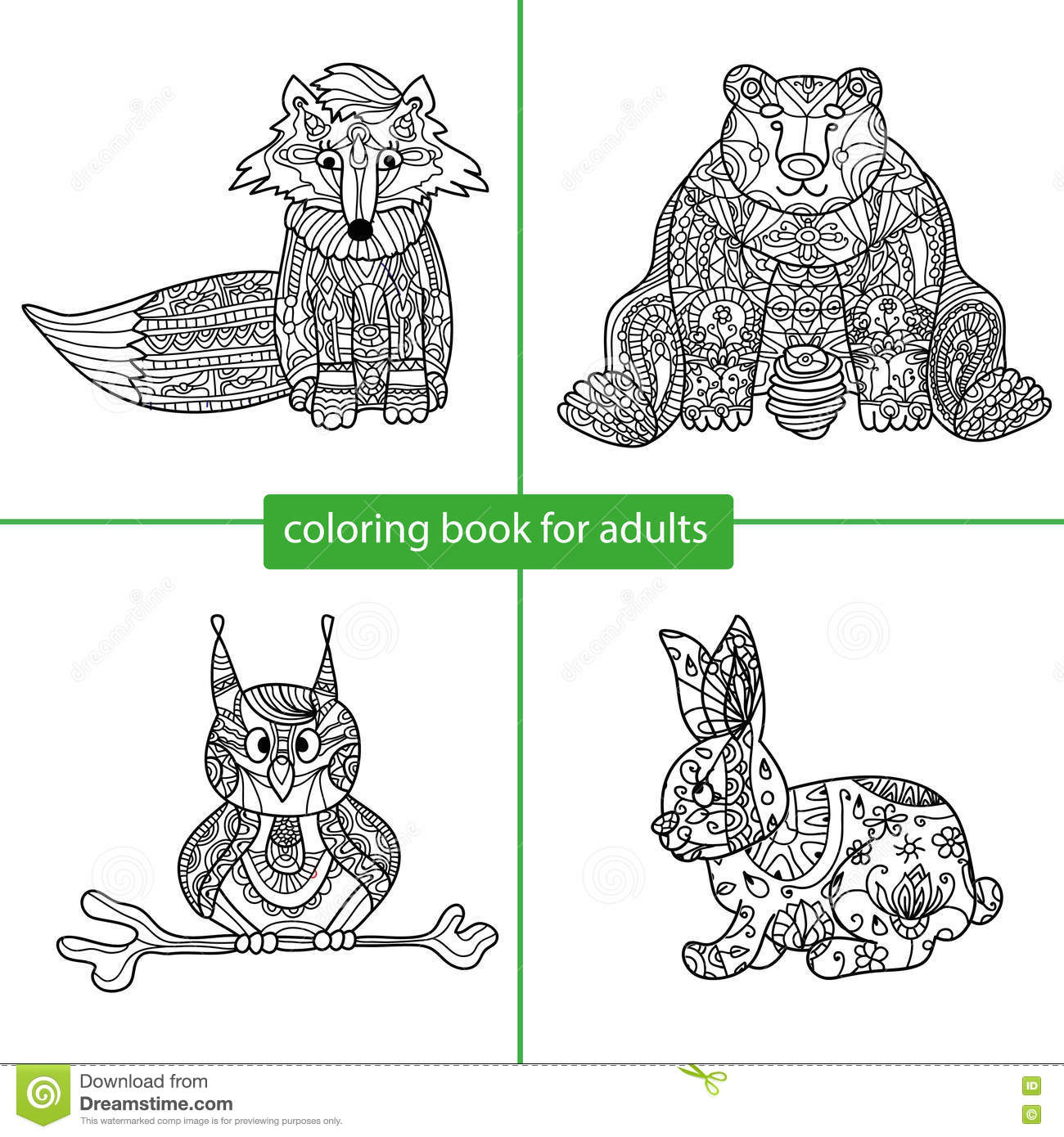 Zen coloring books for children - Coloring Book For Adults Cartoon Character Stock Images