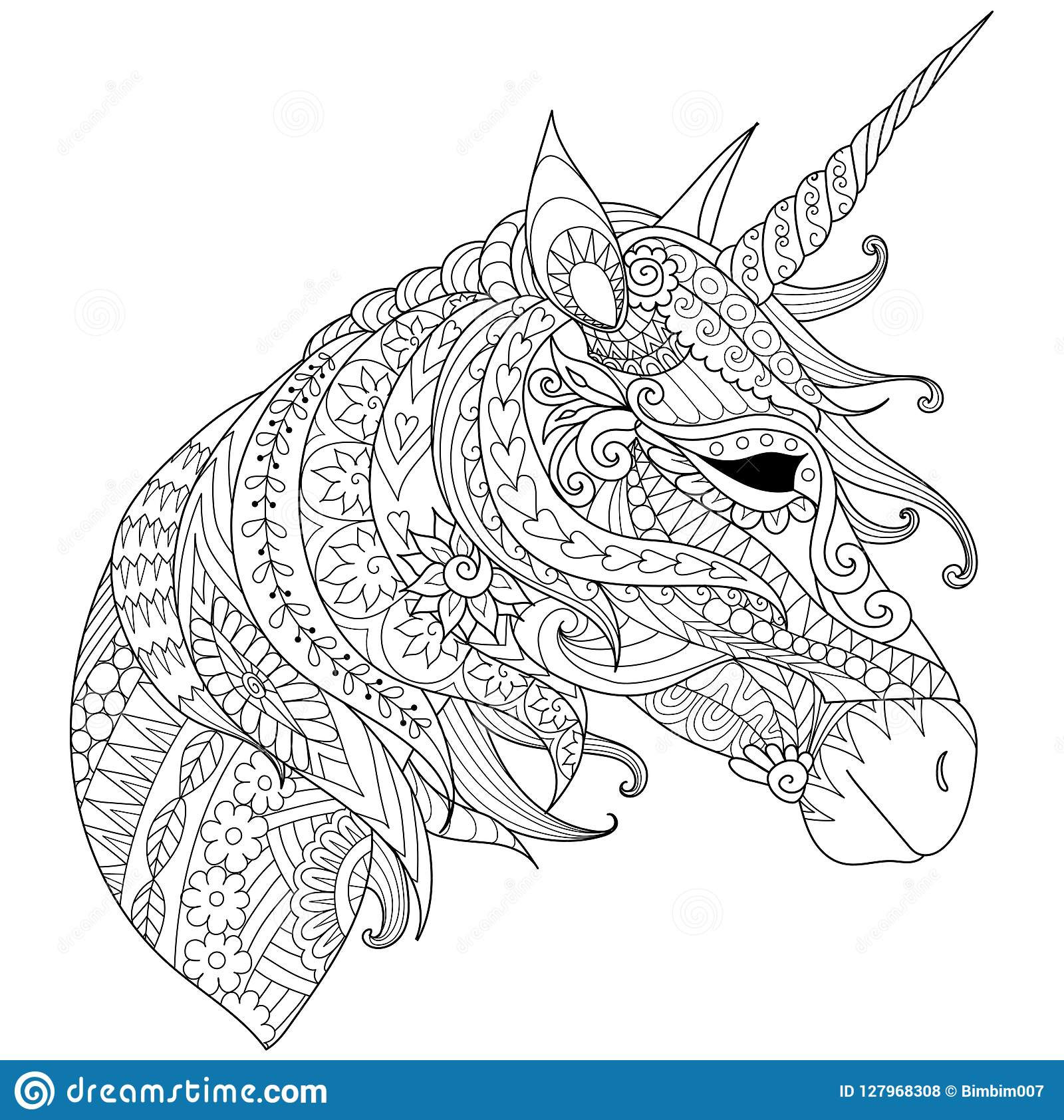 Coloring Book for adults. Colouring pictures with fairytale magic unicorn, also can be used for printing on product. Vector illust