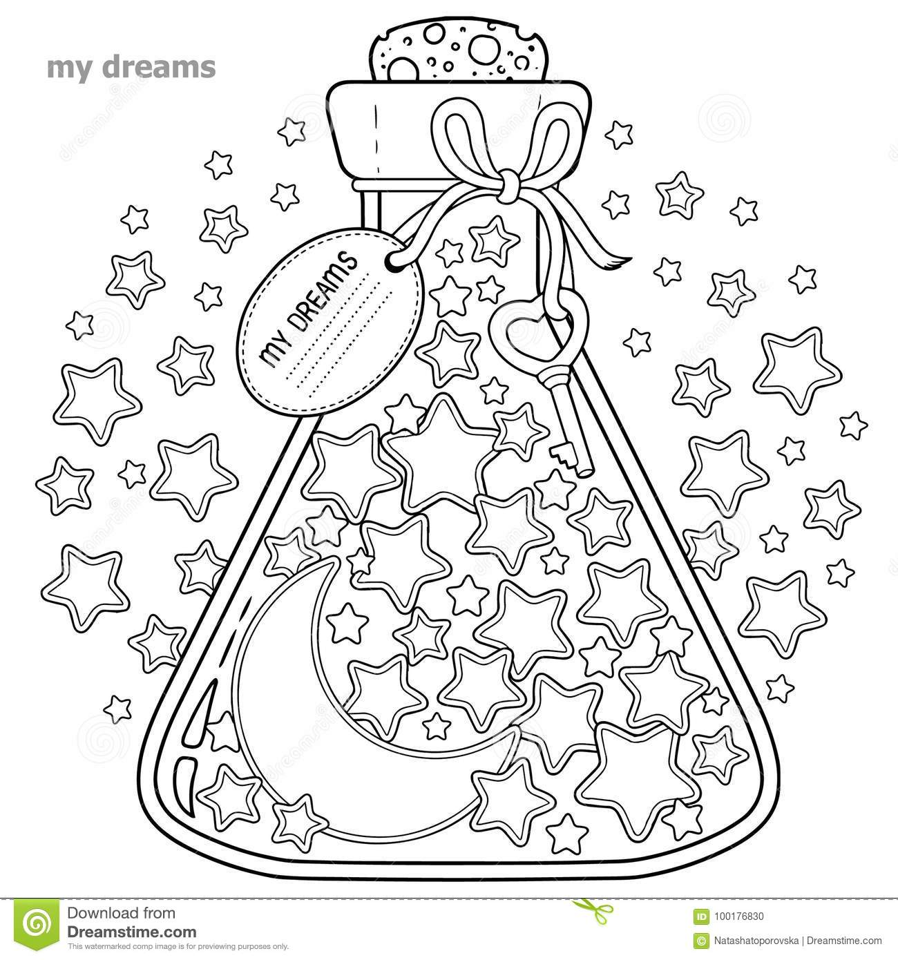 Coloring book for adults. A glass vessel with dreams. A bottle with stars and moon