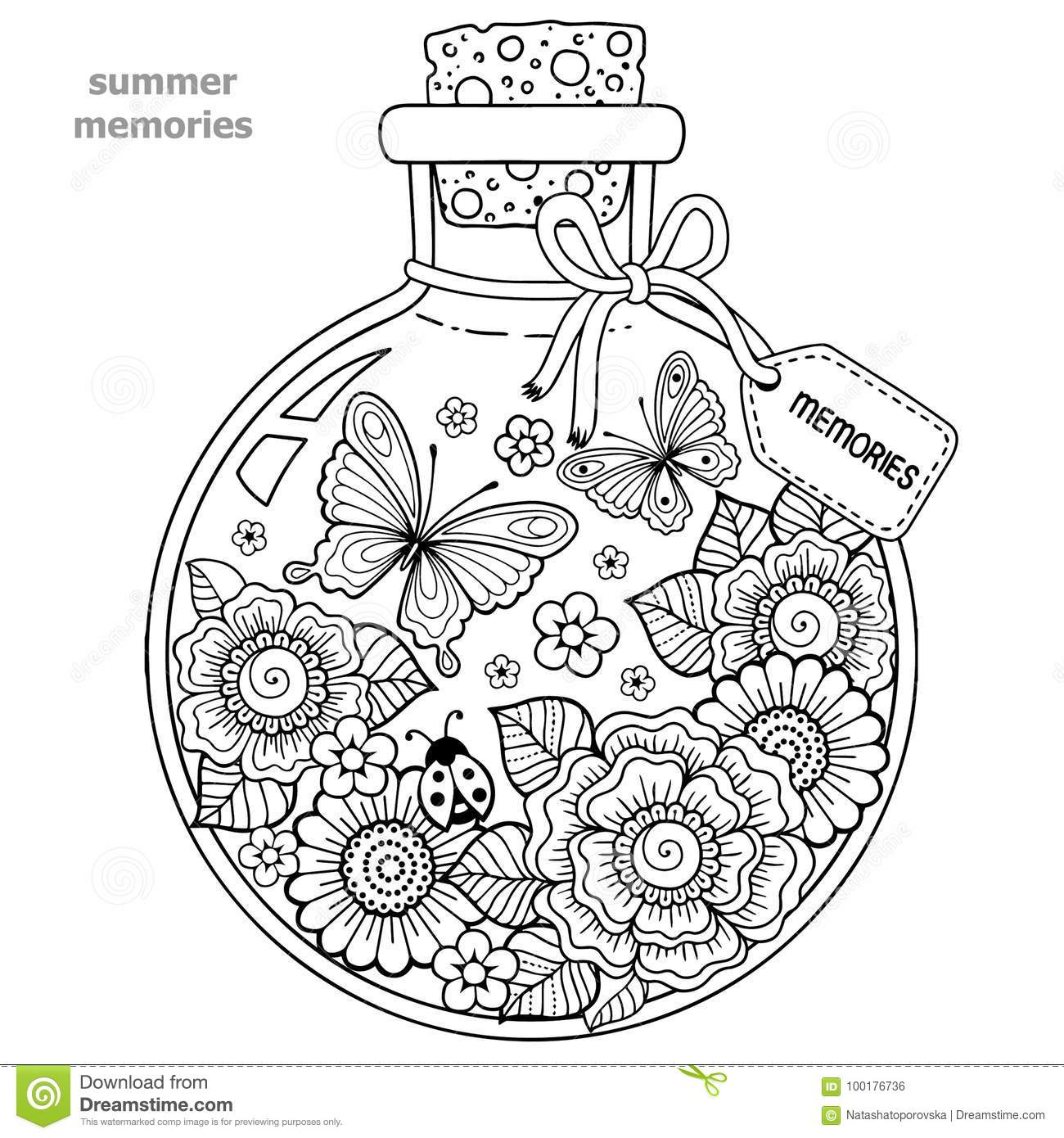 Coloring Book For Adults. A Glass Vessel With Memories Of Summer. A ...