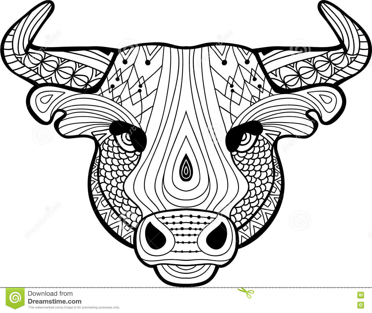 Coloring Book For Adults The Head Of A Buffalo Stock