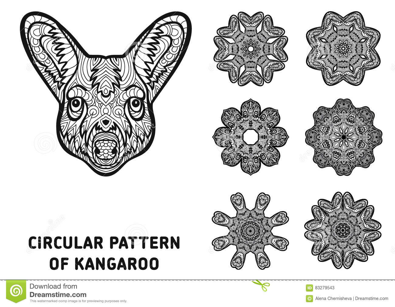 Coloring Book For Adults The Head Of A Kangaroo With Patterns Australia Animals