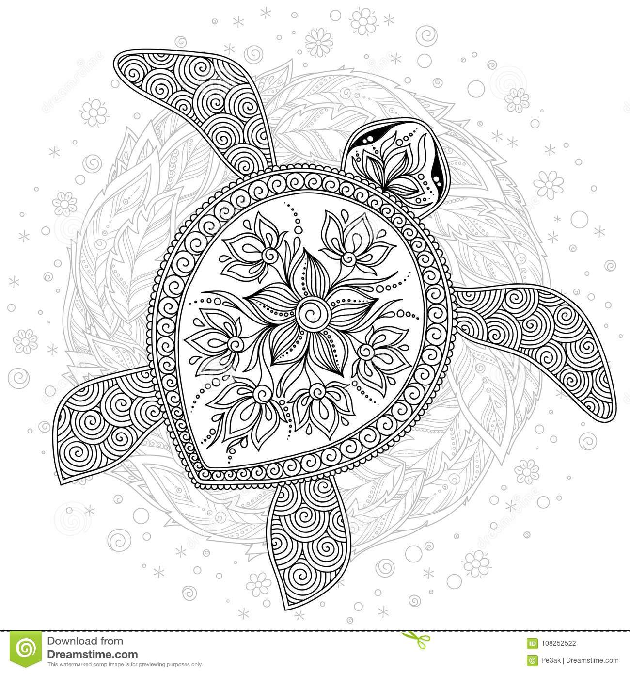 - Vector Illustration Of Sea Turtle For Coloring Book Pages Stock