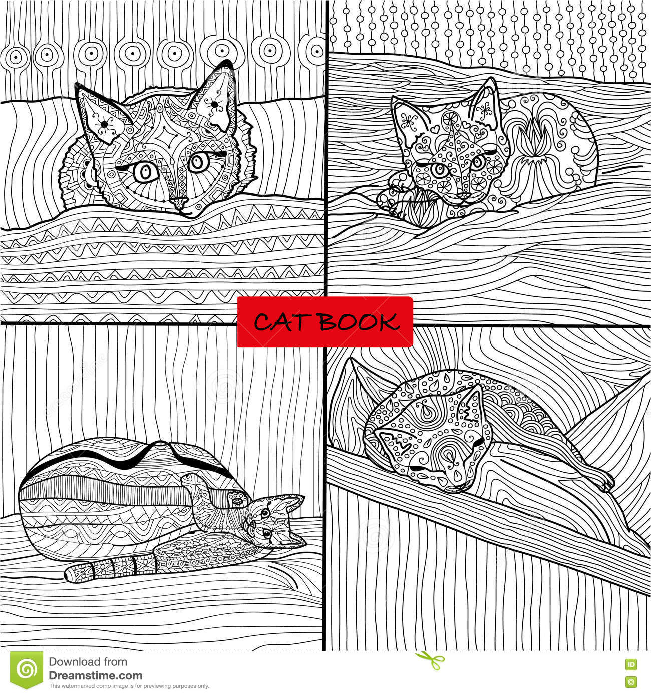 Coloring Book For Adults - 1 Set Of Four Drawings Coloring Pages For ...