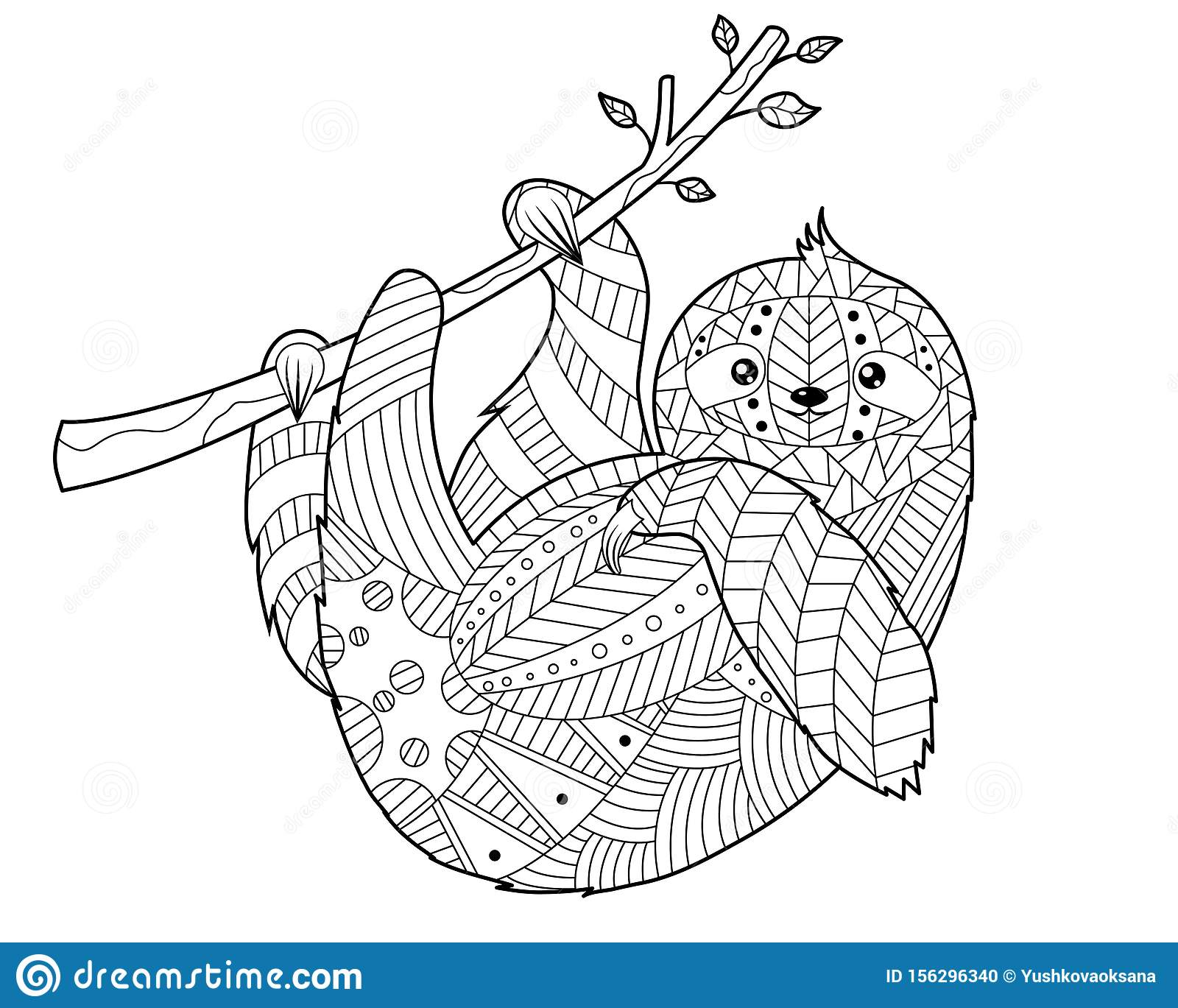 Coloring Book For Adults In The Style Of Doodling Sloth Stock Vector Illustration Of Coloring Exotic 156296340