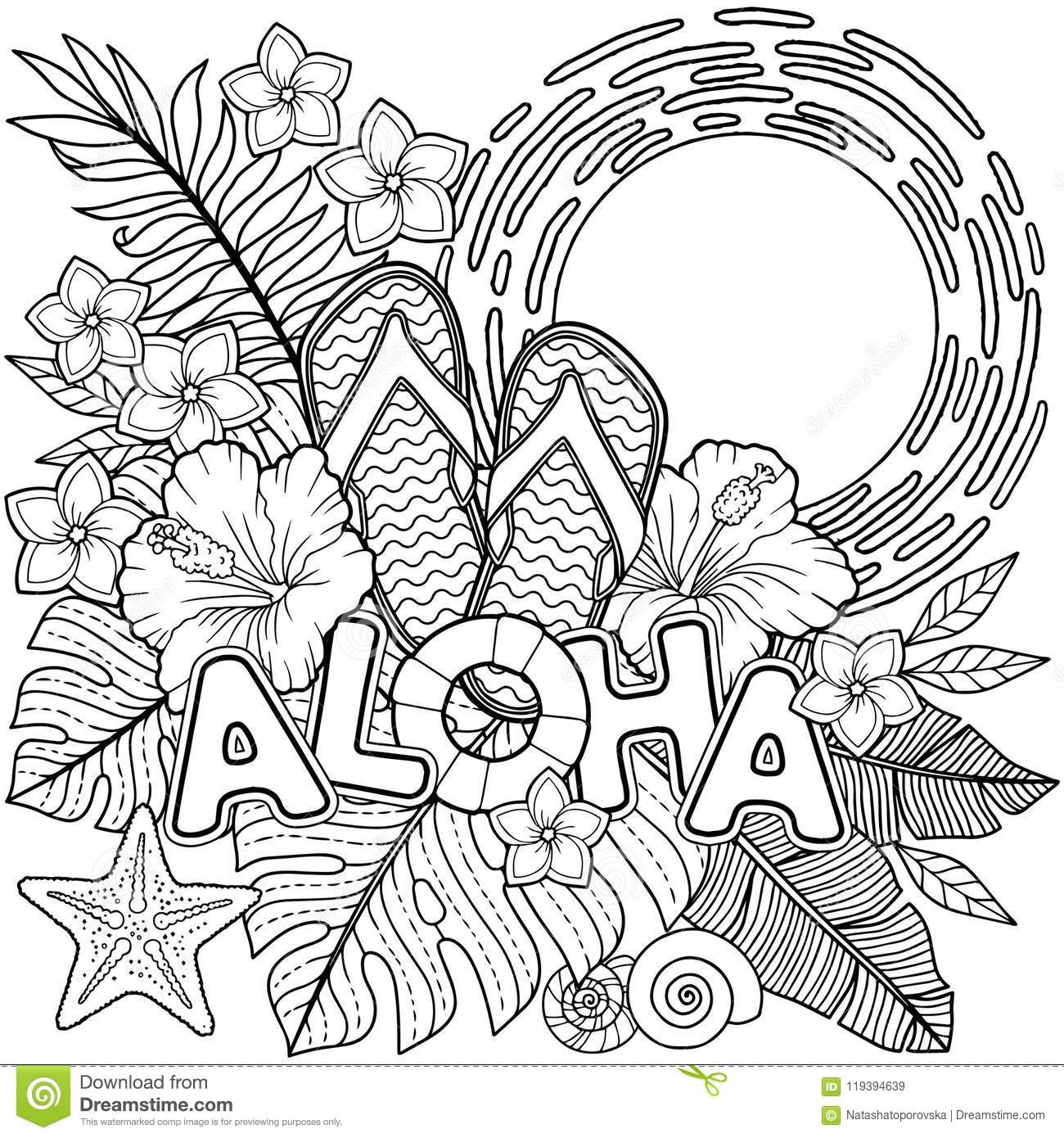 Coloring Book For Adults Toucan Among Tropical Leaves And Flowers Stock Vector Illustration Of Coloring Background 119394639 Trees & leaves coloring pages. https www dreamstime com coloring book adults toucan tropical leaves flowers coloring book adults toucan tropical leaves image119394639