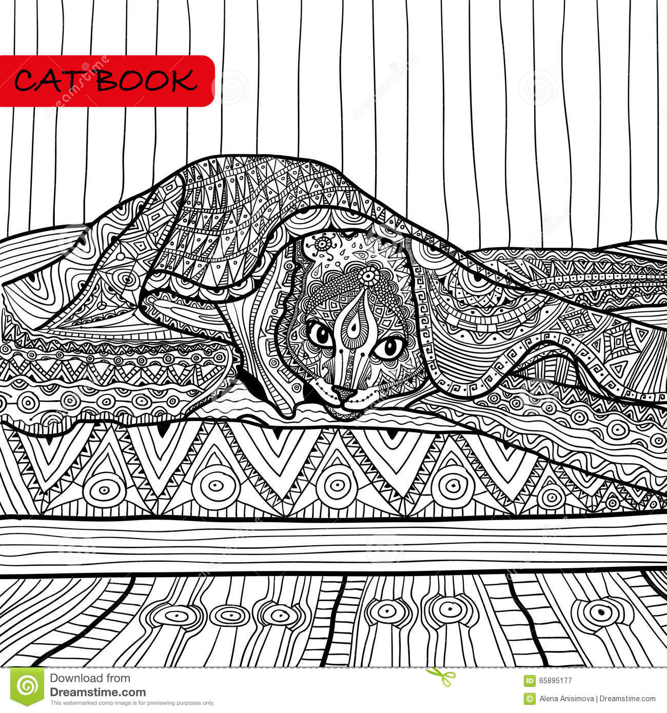 Intricate Cat Coloring Pages : Coloring book for adults zentangle cat the on