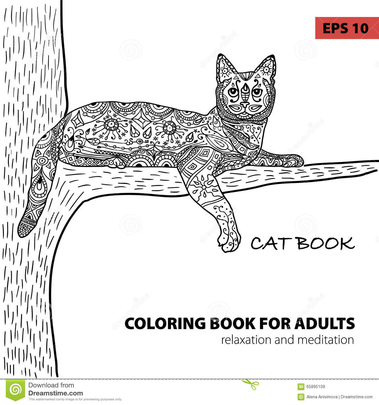 coloring book adults zentangle cat book ink pen black white background intricate pattern doodle hand drawn illustration 65895109