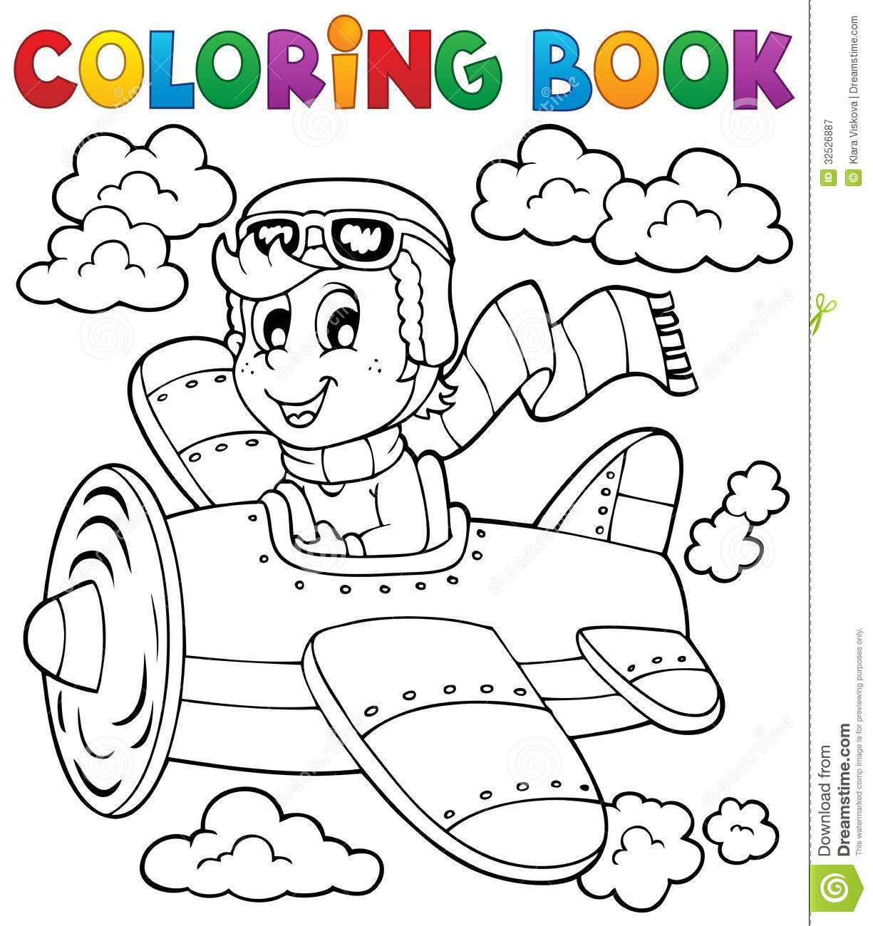 coloring book airplane theme 1 royalty free stock photo - Free Download Colouring Book