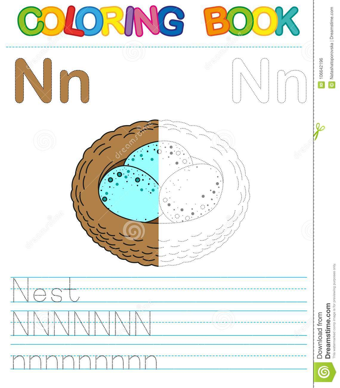 Vector coloring book alphabet. Educational game for kid. Simple level of difficulty. Restore dashed line and color the picture. Tr