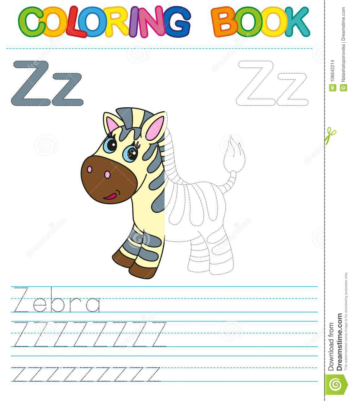 Vector Coloring Book Alphabet Educational Game For Kid Simple