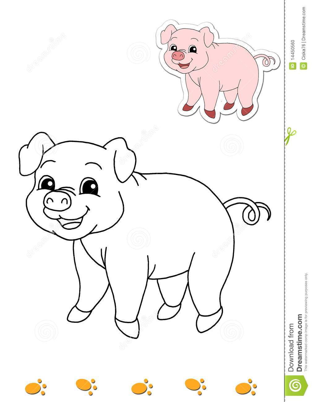 Coloring Book Of Animals 5 - Pig Stock Illustration - Illustration ...