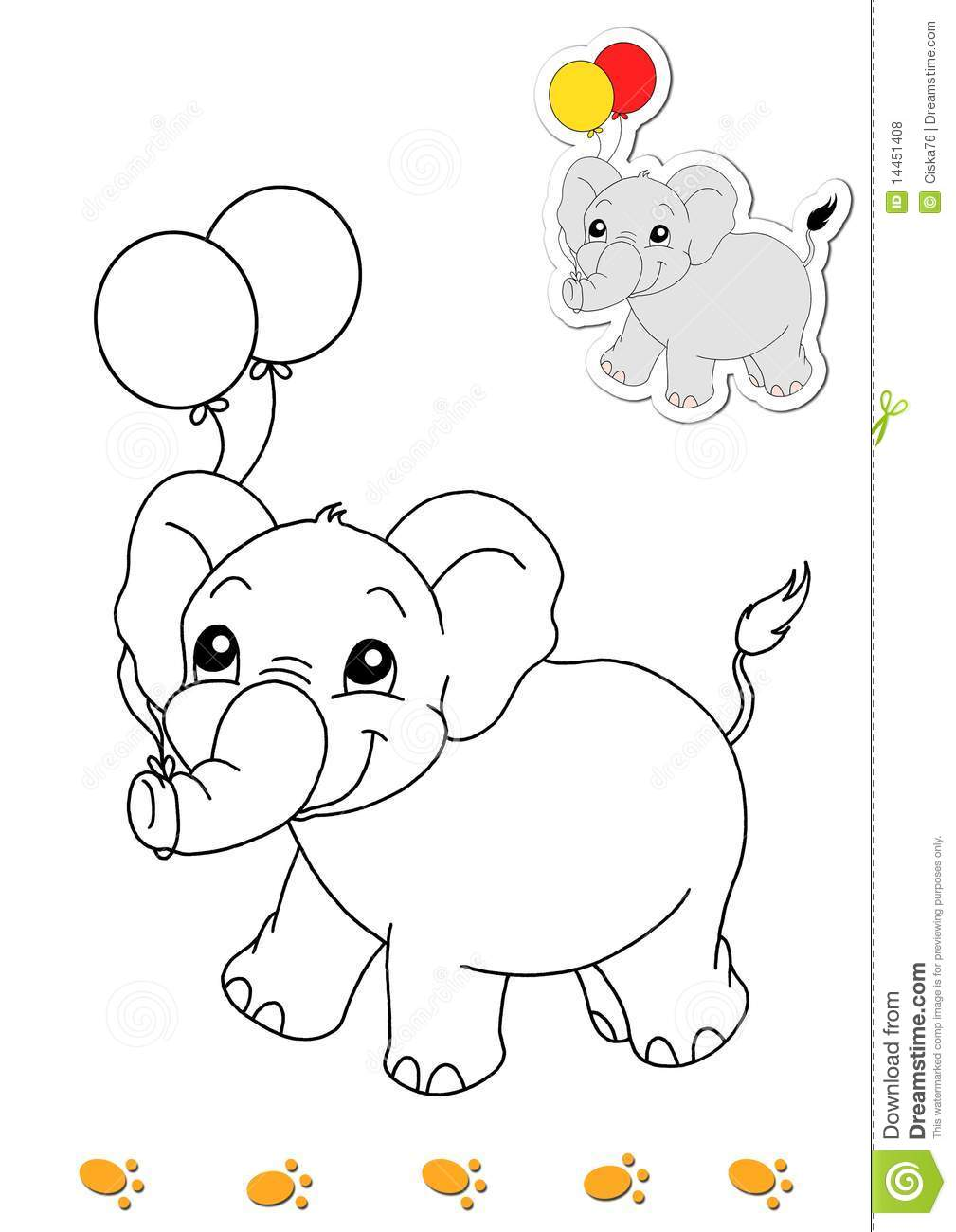 Page With The Elephant To Be Color For Children Digital Illustration