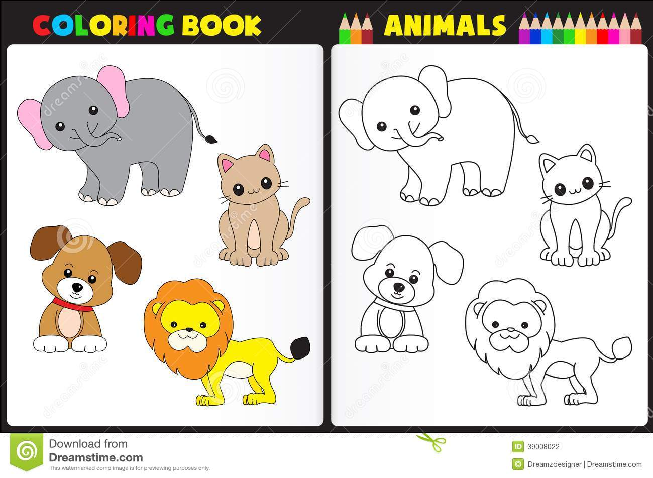 coloring book animals stock vector illustration of lion 39008022 - Coloring Book Animals