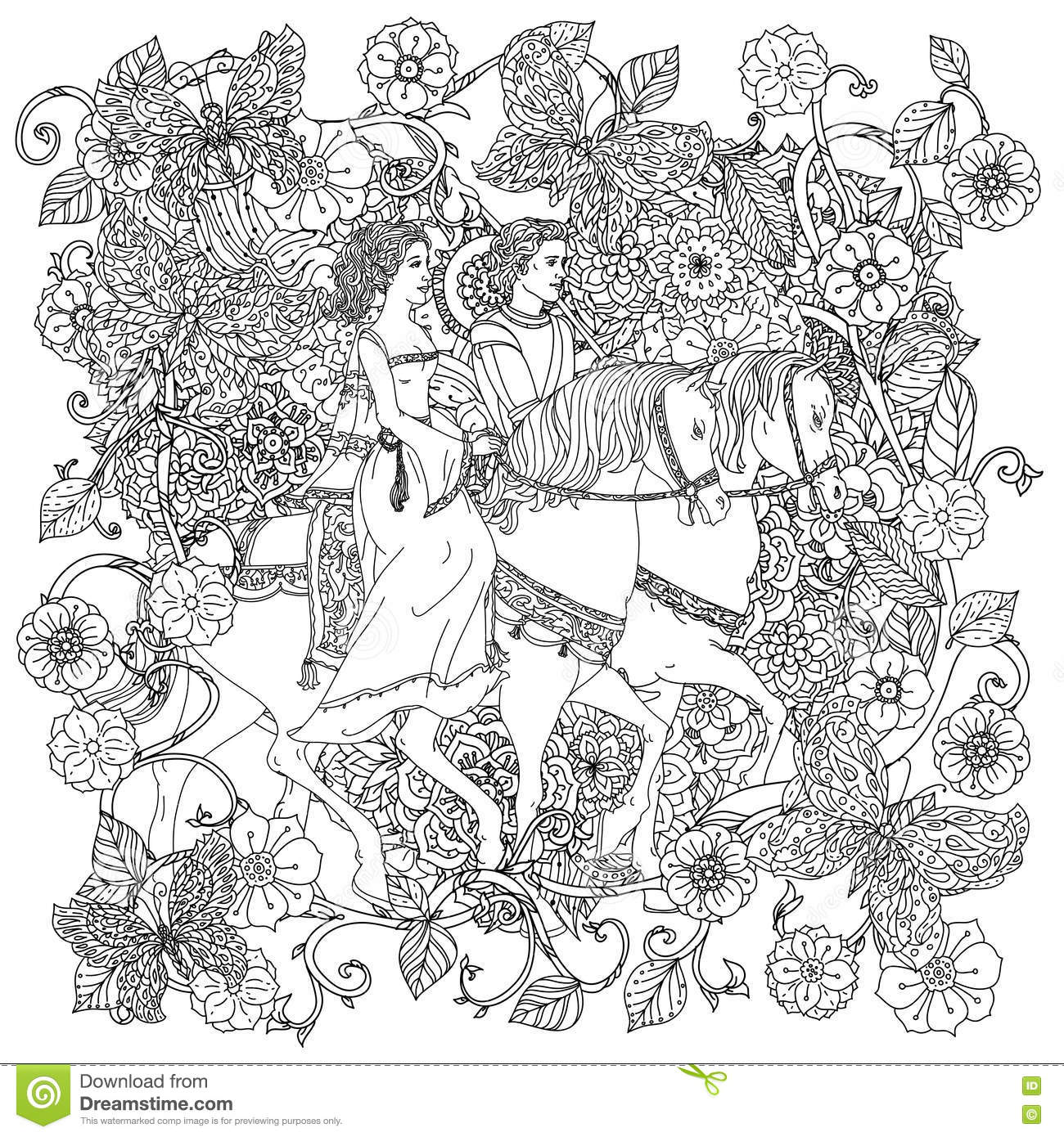 Coloring Book Antistress Style Picture Stock Vector