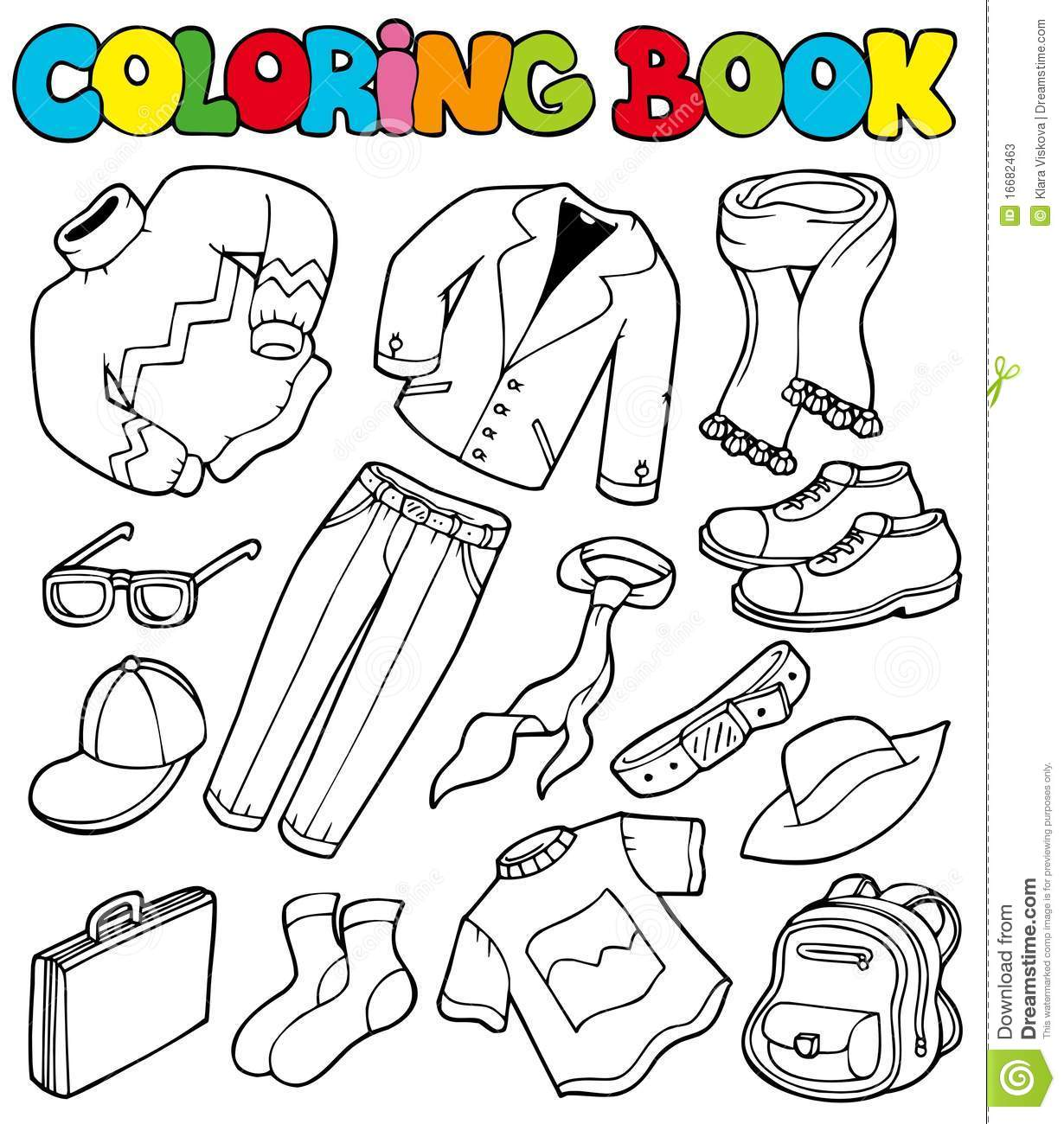 Summer clothes coloring pages - Coloring Book With Apparel 1
