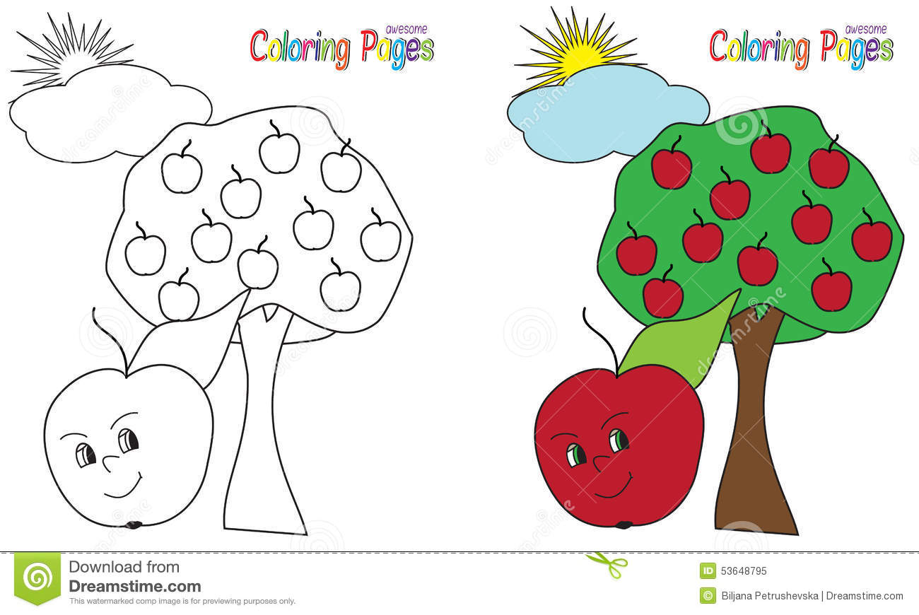 coloring book apple tree stock vector image 53648795