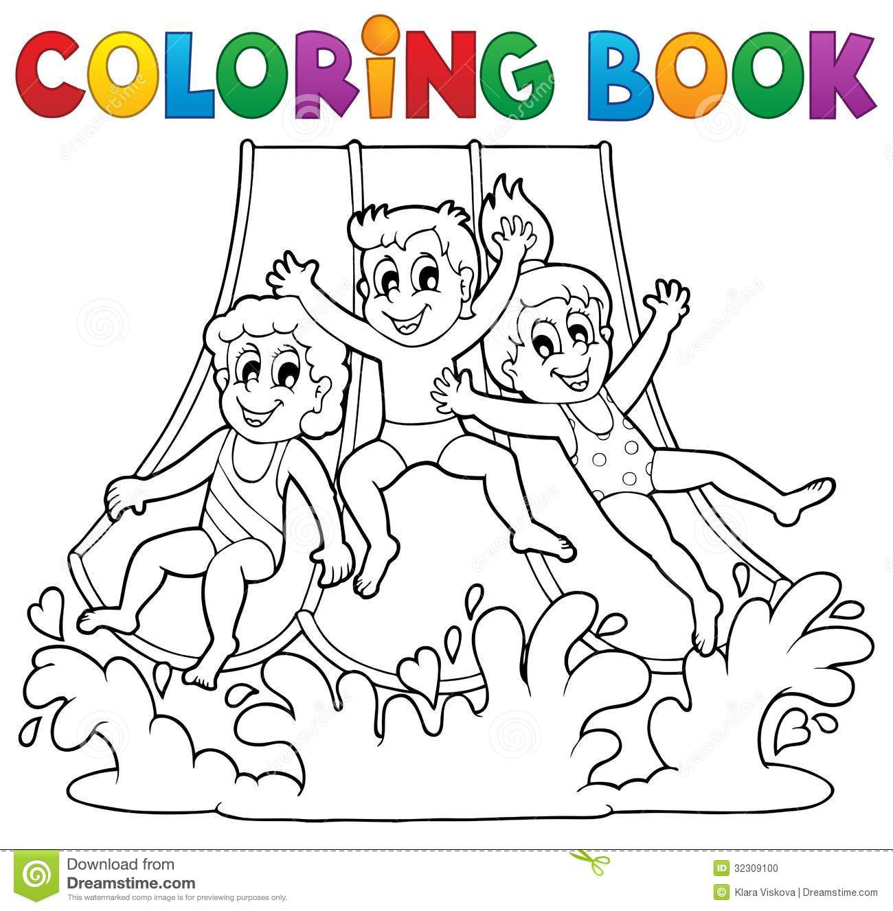 Coloring Book Aquapark Theme 1 Stock Vector Illustration