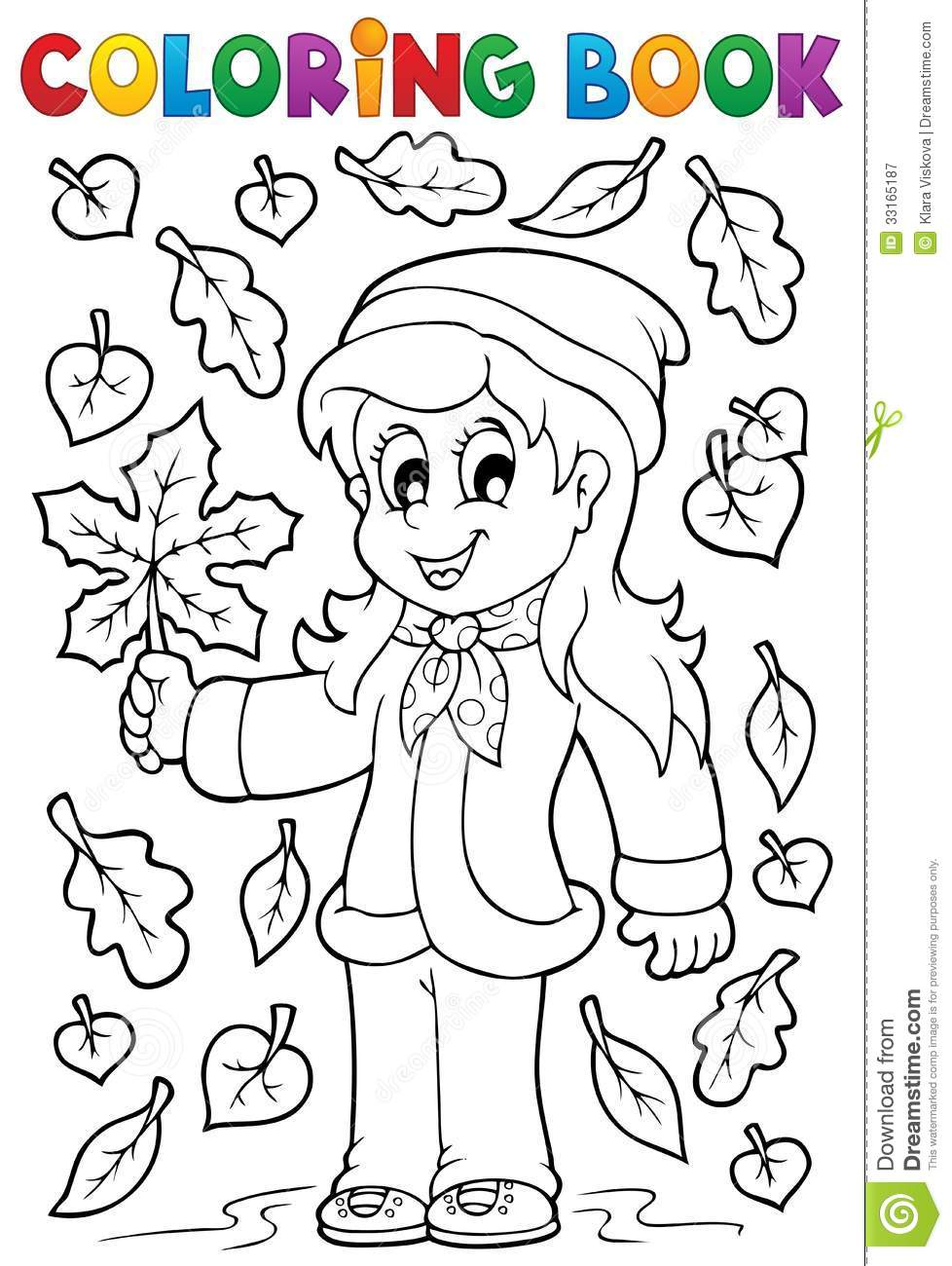 Coloring book with autumn theme 2 royalty free stock for Fall theme coloring pages