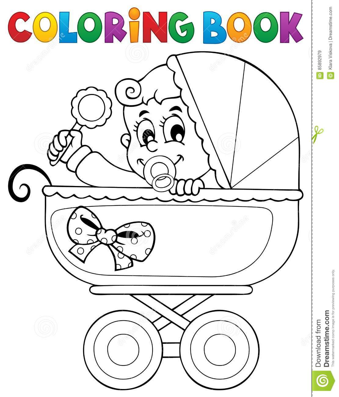 Coloring Book Baby Theme Image 5 Stock Vector Illustration Of