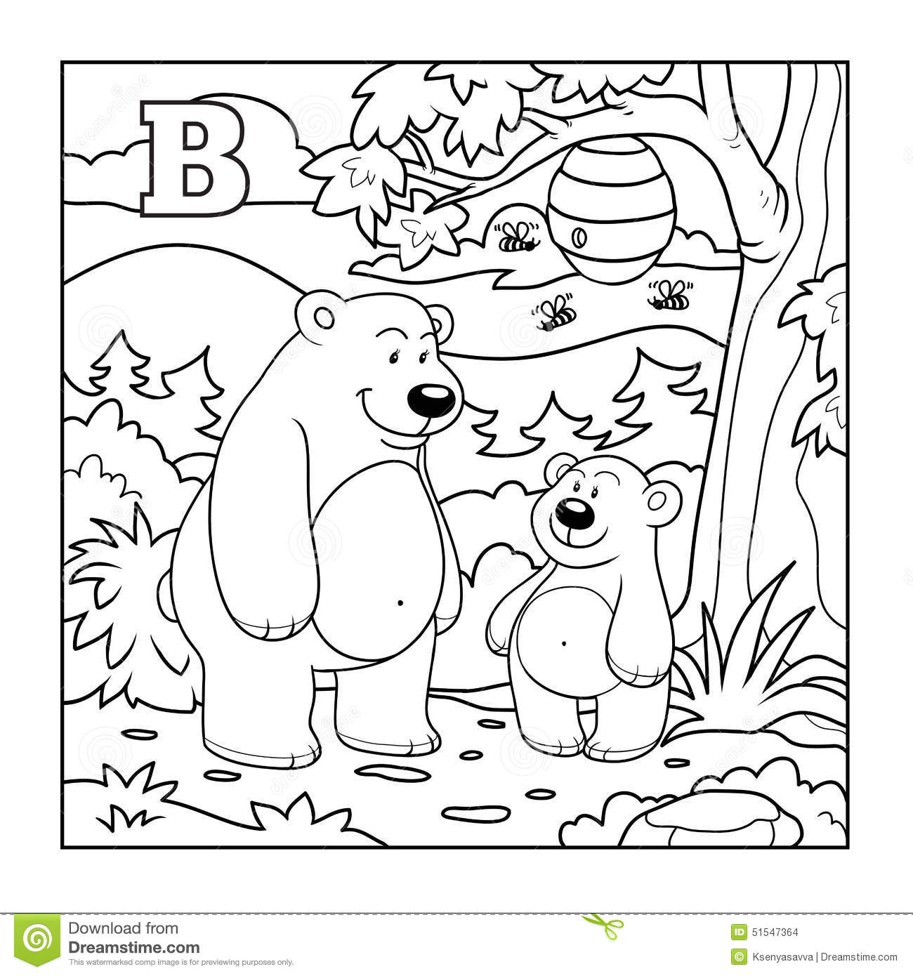 Download Coloring Book Bears In The Forest Colorless Letter B Stock Vector