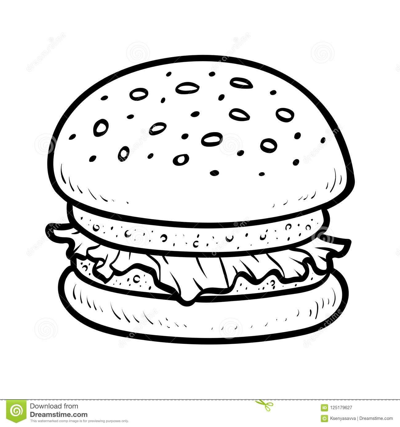 Coloring Book Burger Stock Vector Illustration Of Book 125179627