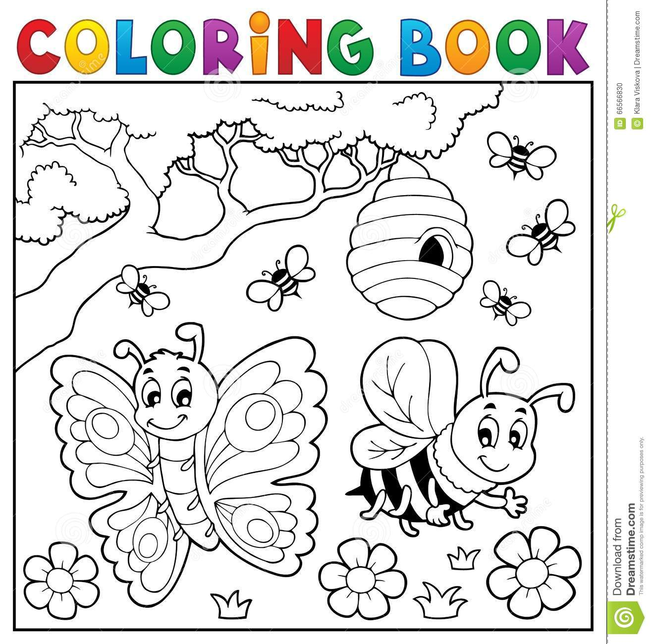 Coloring Book With Butterfly And Bee Stock Vector