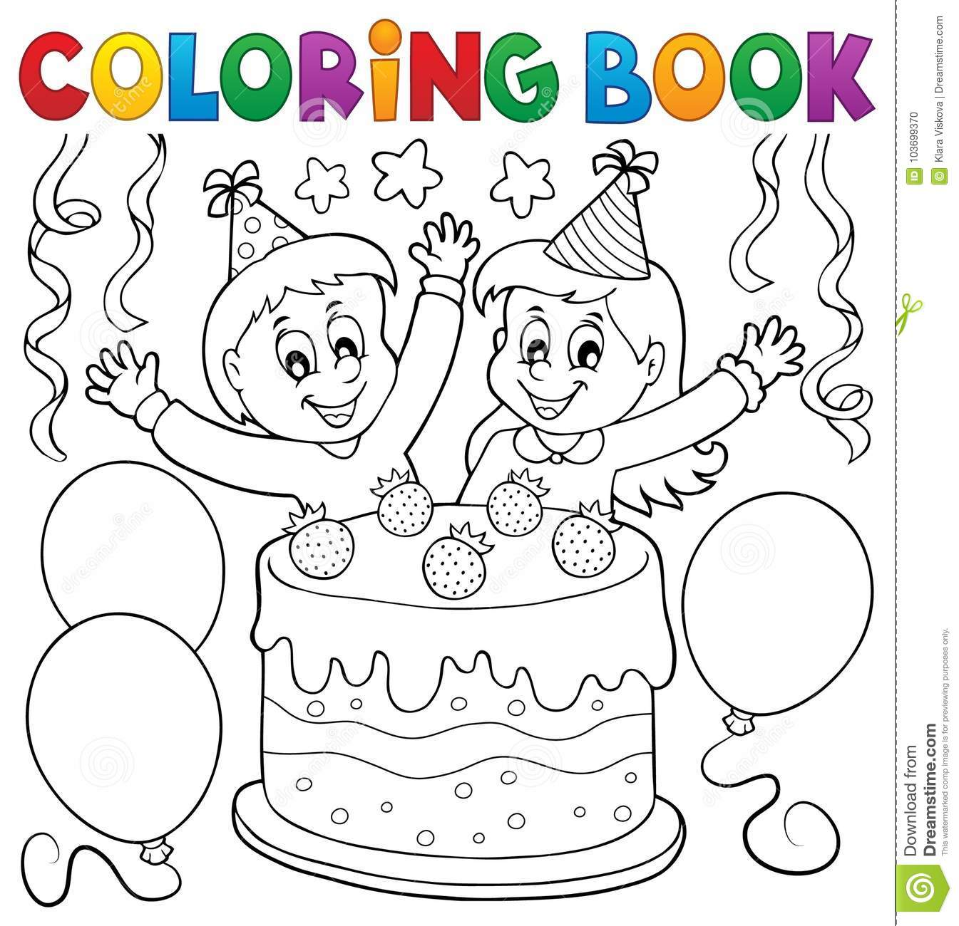 Coloring Book Cake And Kids Celebrating Stock Vector - Illustration ...