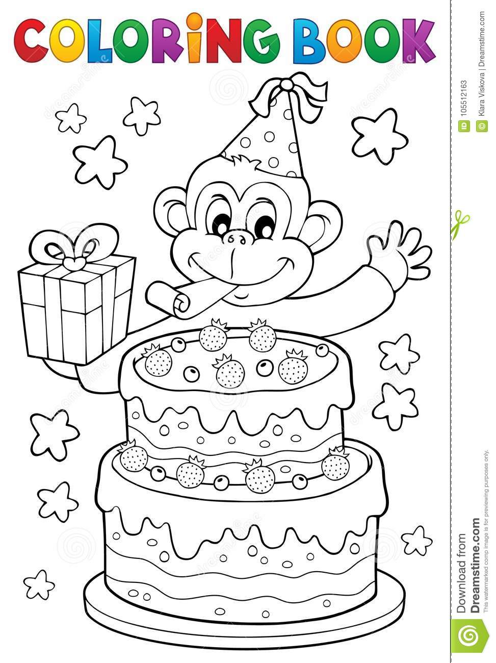 Coloring Book Cake And Party Monkey Stock Vector - Illustration of ...