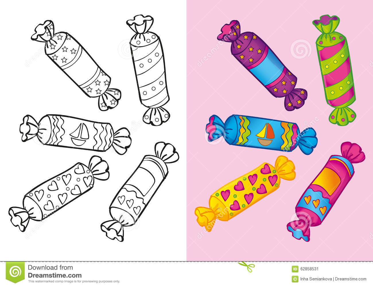 Coloring Book Of Candies Set Stock Illustration - Illustration of ...