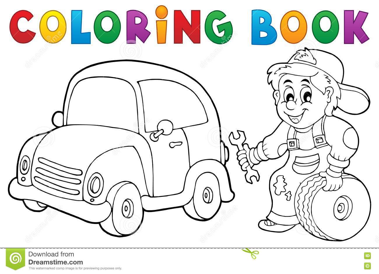 Coloring Book Car Mechanic Theme 1 Stock Vector - Image: 73846780