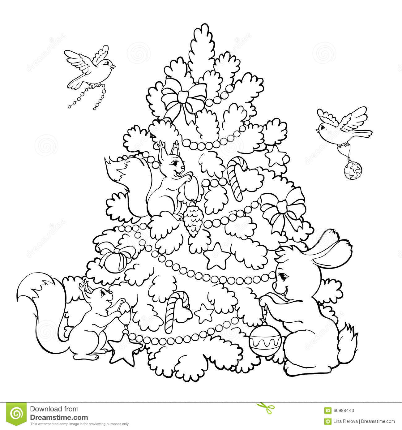 coloring book cartoon animals decorate the christmas tree stock