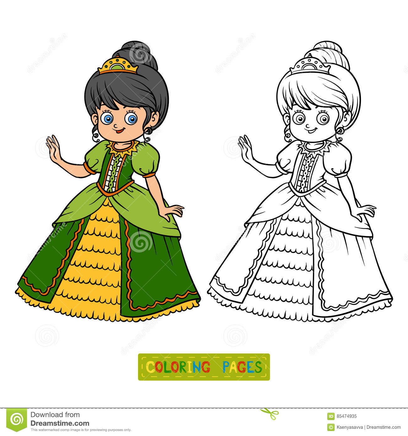 Coloring Book, Cartoon Character, Princess Stock Vector ...