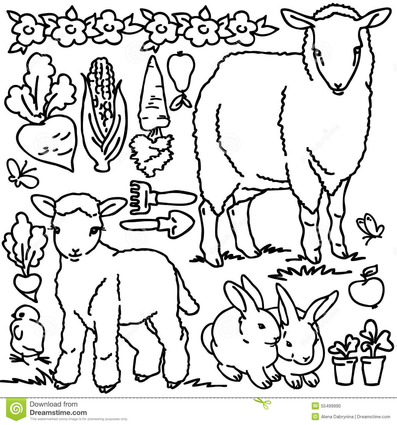 coloring book cartoon farm animals stock illustration image