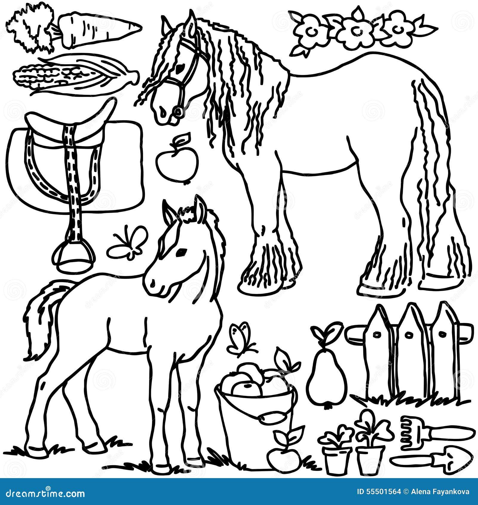 coloring book cartoon farm animals stock illustration image