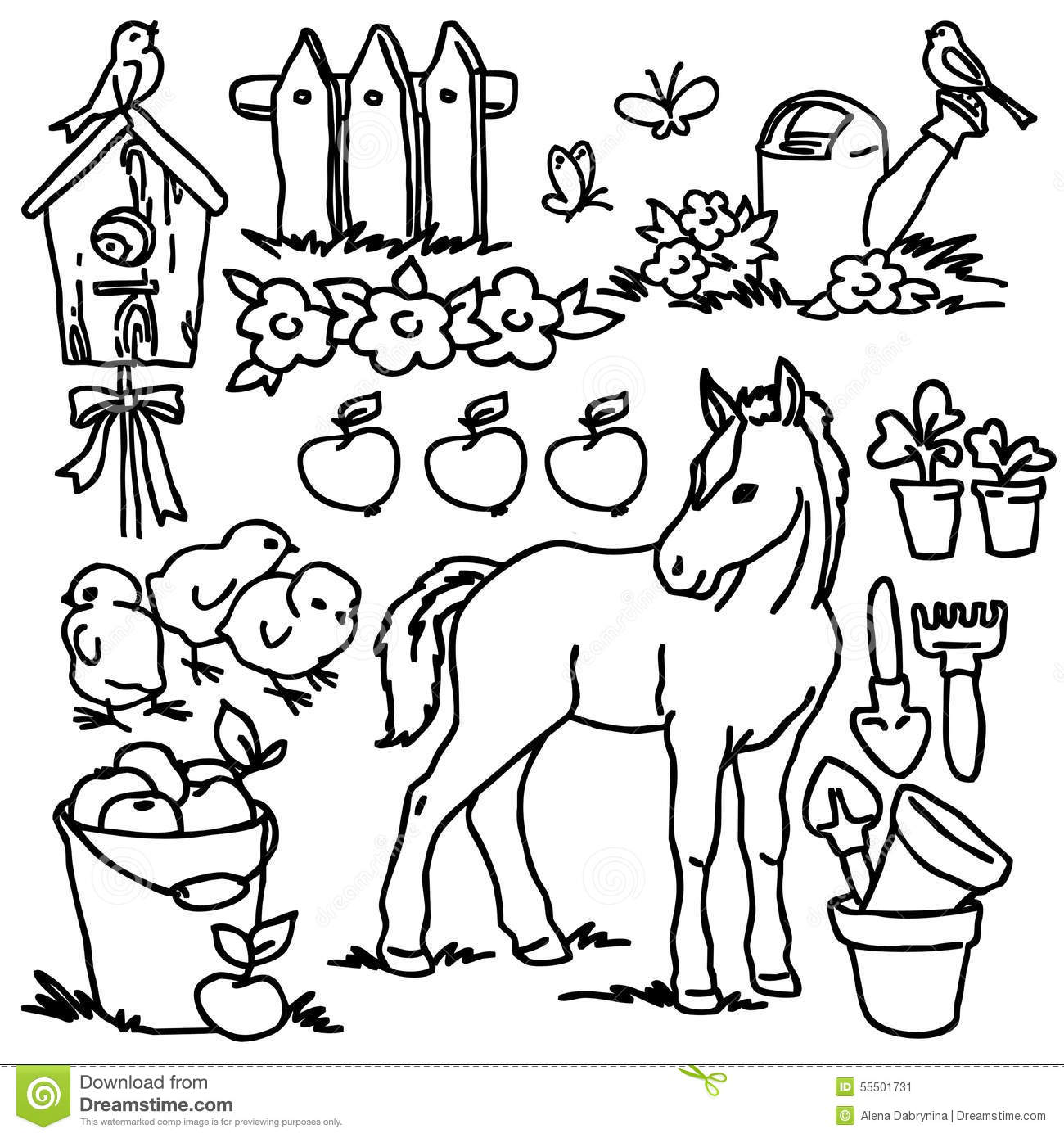 Stock Illustration Coloring Book Cartoon Farm Animals Horse Bird Vegetables Fruits Garden Tools Decoration Elements Kid Drawing Image55501731