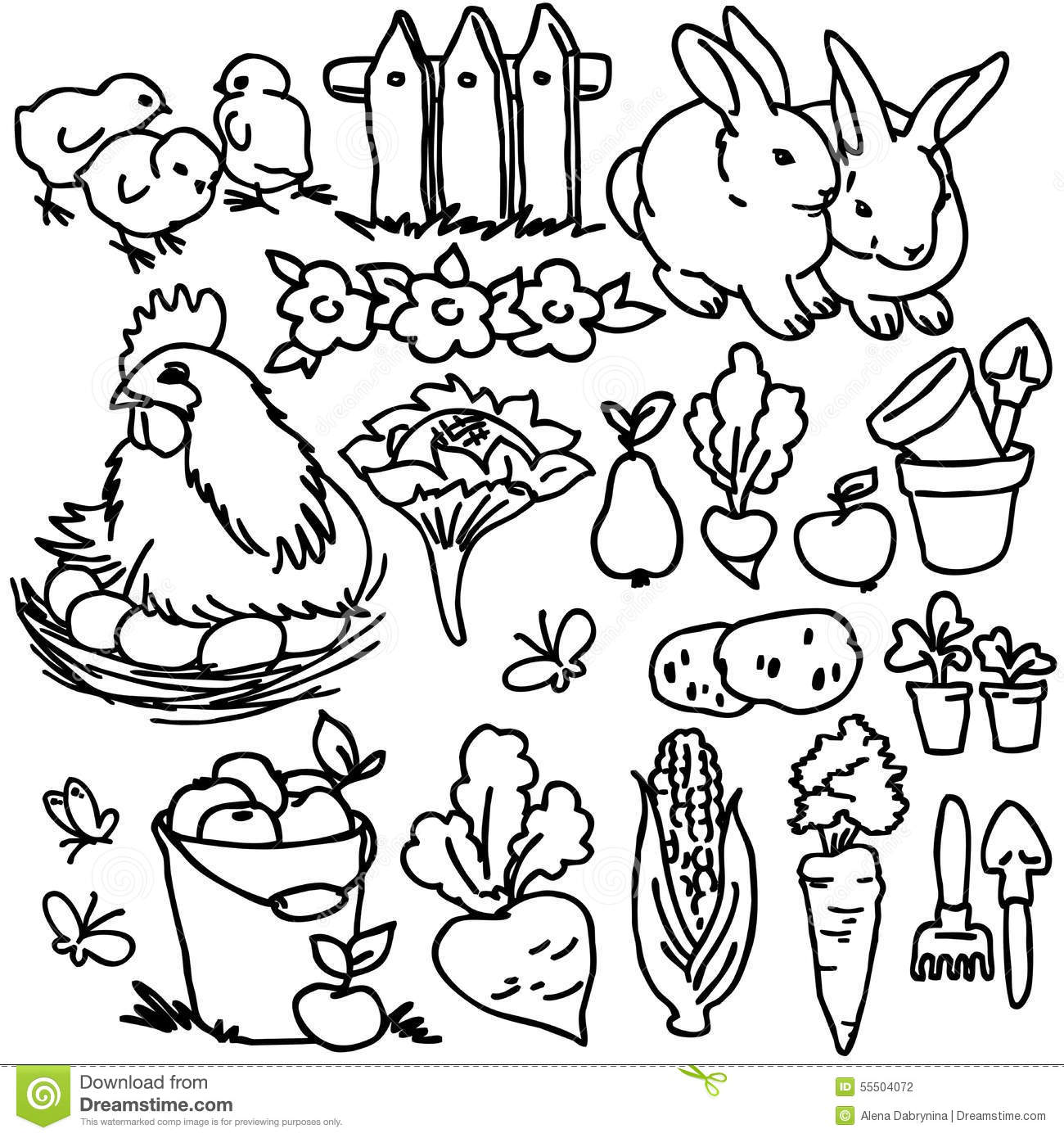 Coloring Book, Cartoon Farm Animals Stock Illustration ...